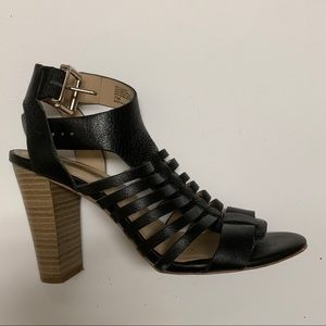 INC black leather heels